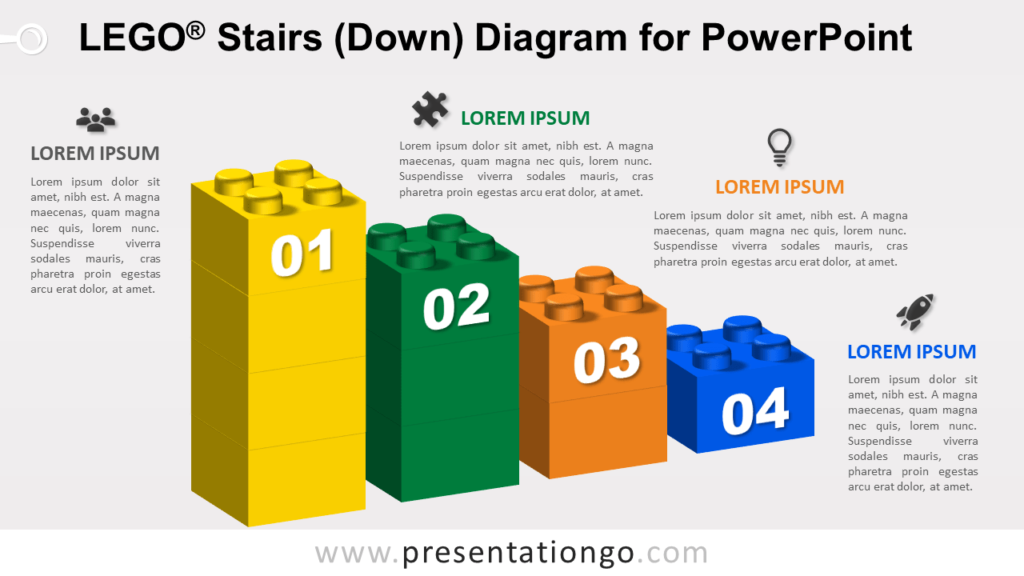 Lego Stairs Down for PowerPoint