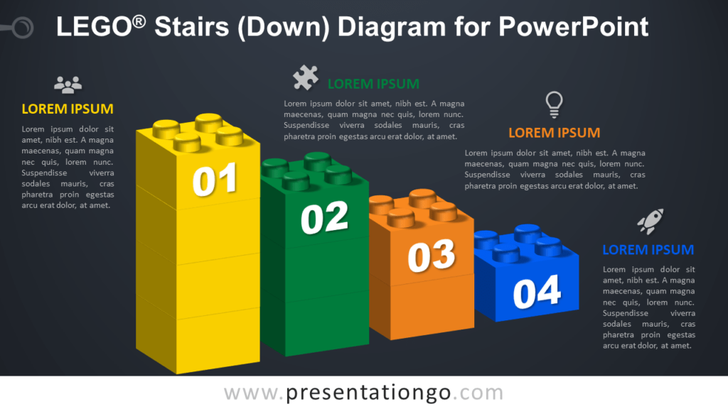 Lego Stairs Down for PowerPoint - Dark Background