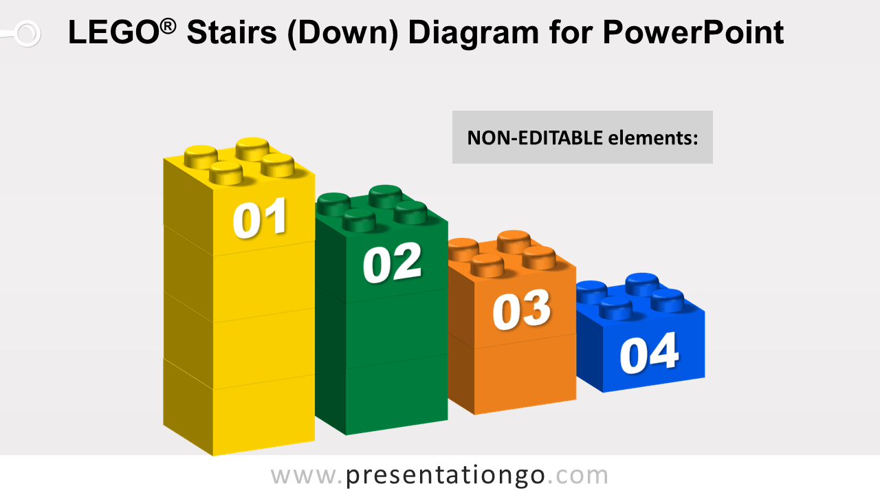 Lego Stairs Down for PowerPoint - Not Editable Elements