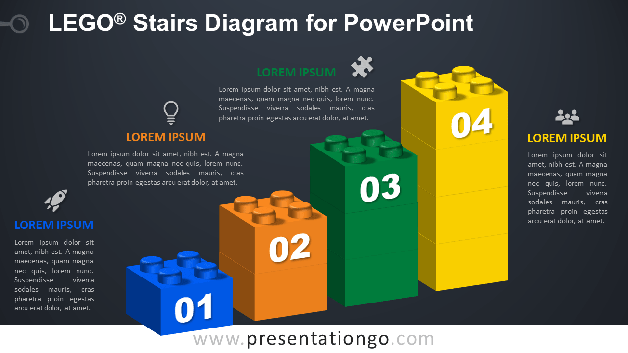 Lego Stairs for PowerPoint - Dark Background