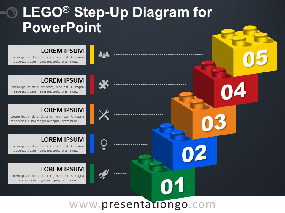 Free Lego Step-Up Diagram for PowerPoint - Dark Background
