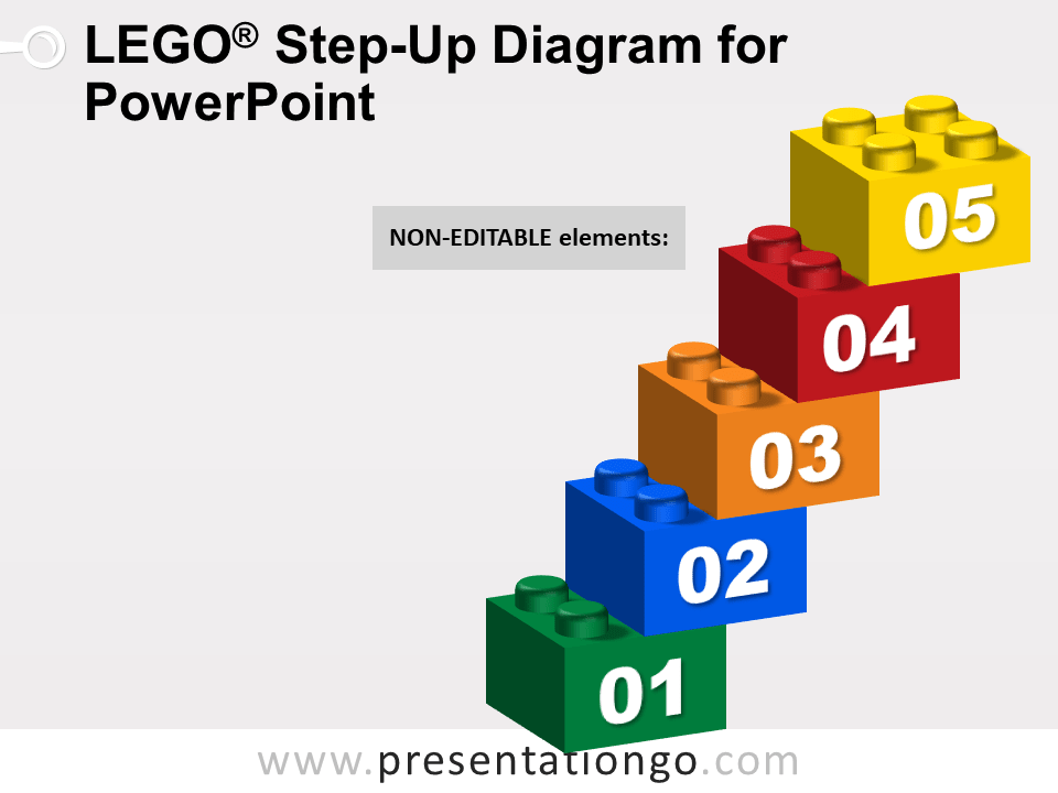 Lego Step-Up Diagram for PowerPoint - Not Editable Elements