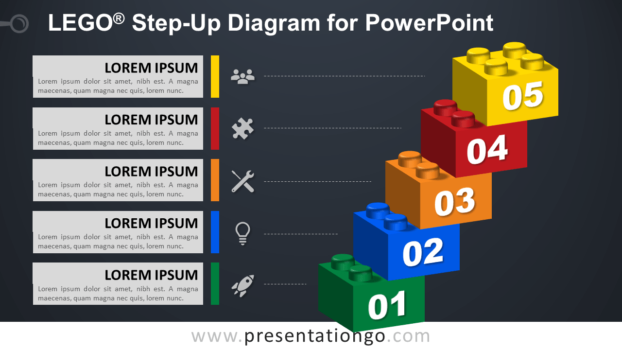 Lego Step-Up for PowerPoint - Dark Background