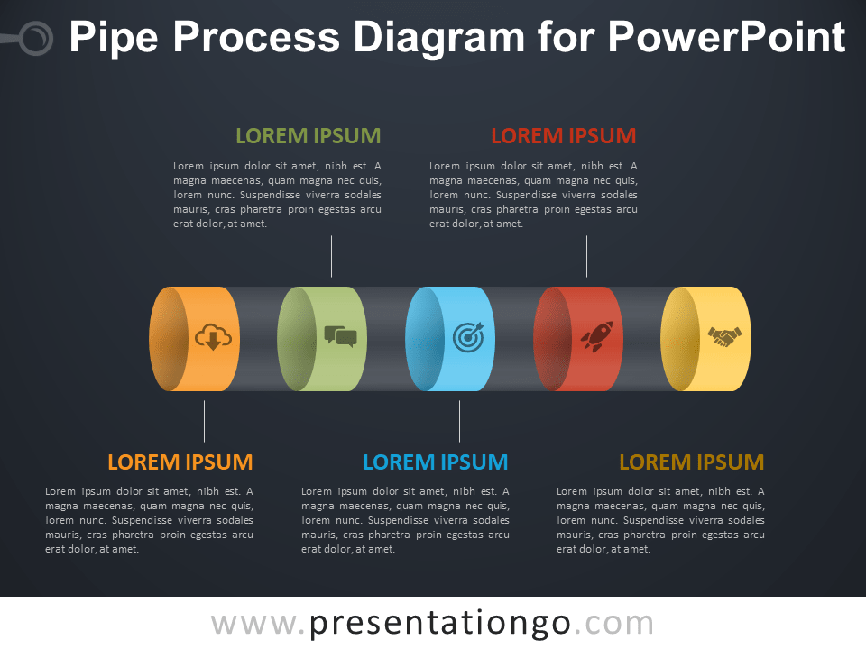 Free Pipe Process Diagram for PowerPoint - Dark Background