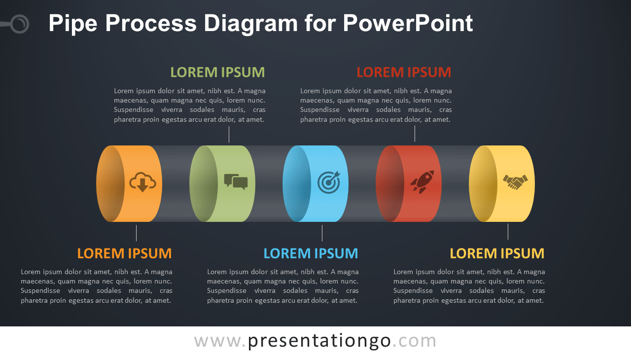 Pipe Process for PowerPoint - Dark Background
