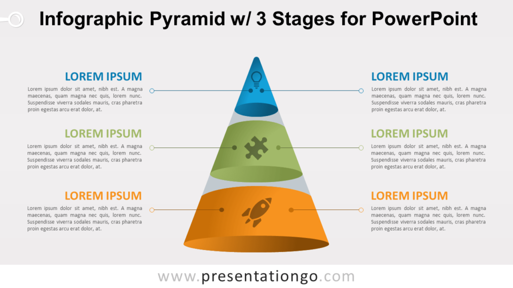 Pyramid with 3 Stages for PowerPoint