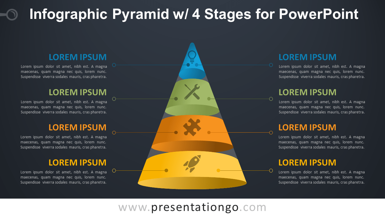 Pyramid with 4 Stages for PowerPoint - Dark Background