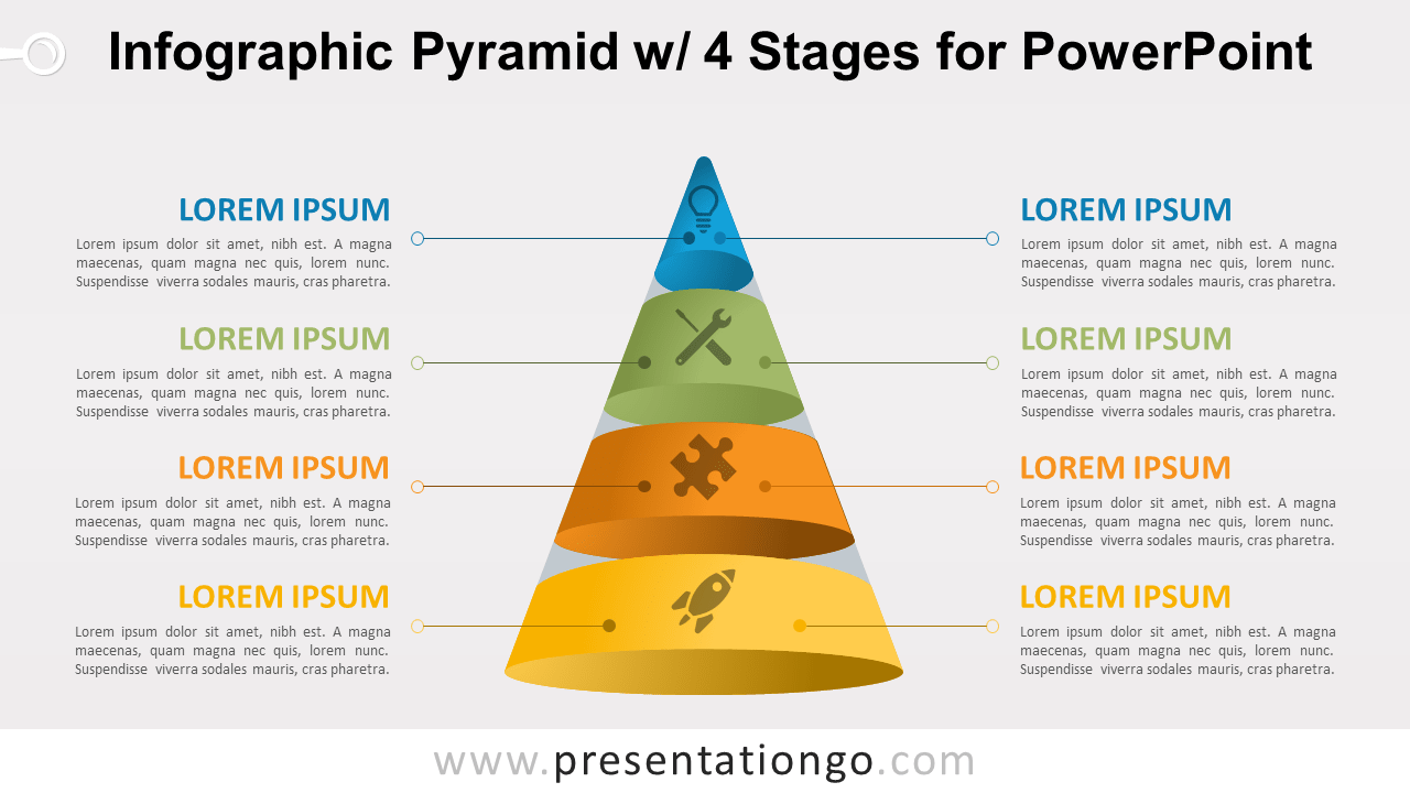 Pyramid with 4 Stages for PowerPoint