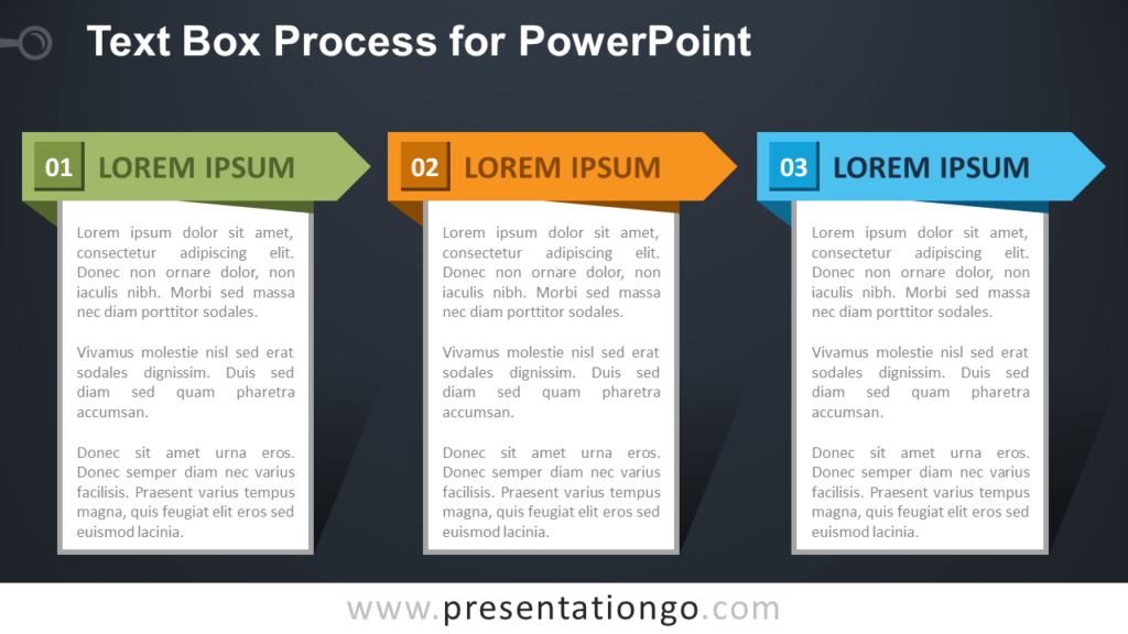 Free Text Box Process Diagram for PowerPoint - Dark Background