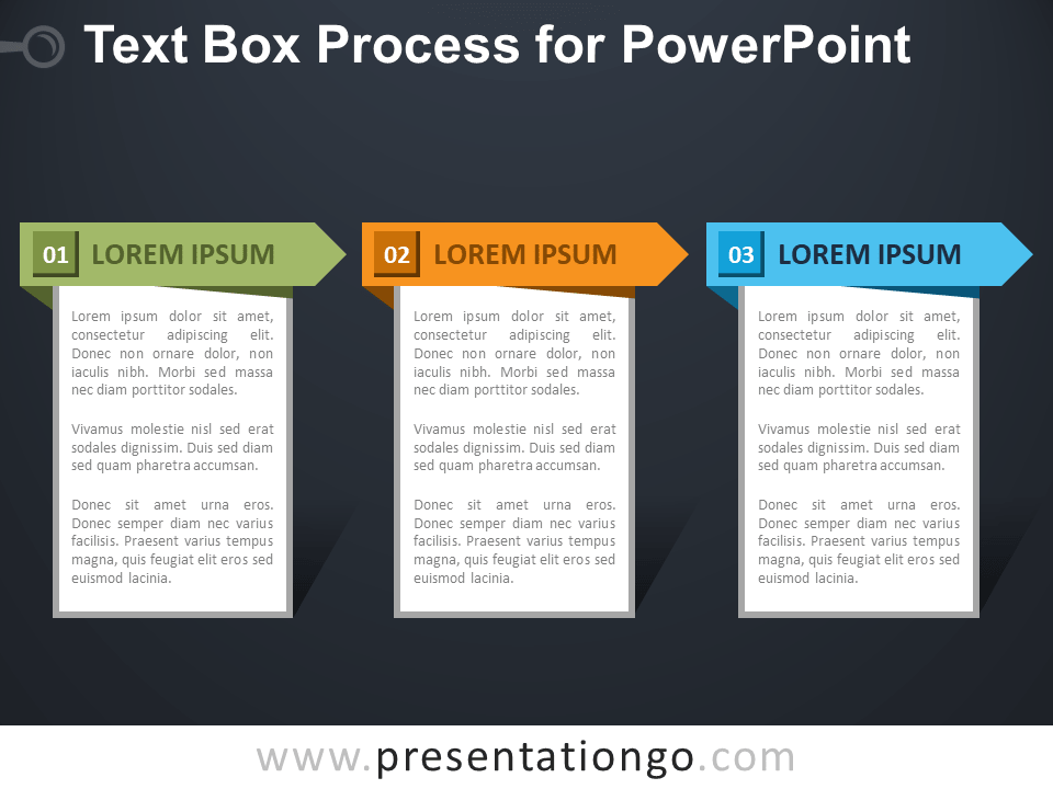 Free Text Box Process for PowerPoint - Dark Background