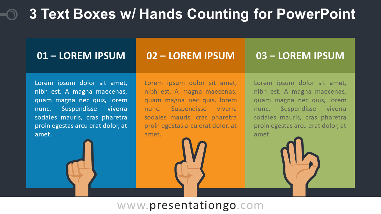 Three Text Boxes and Finger Counting for PowerPoint - Dark Background