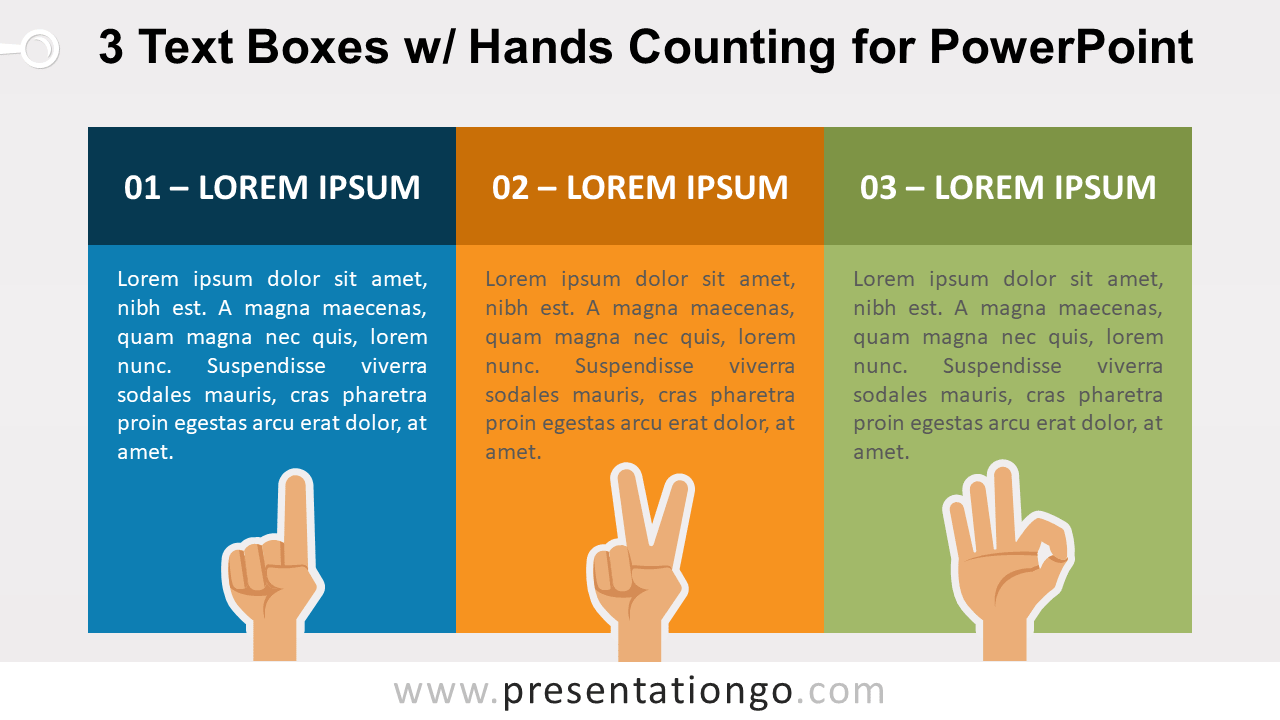 Three Text Boxes and Finger Counting for PowerPoint