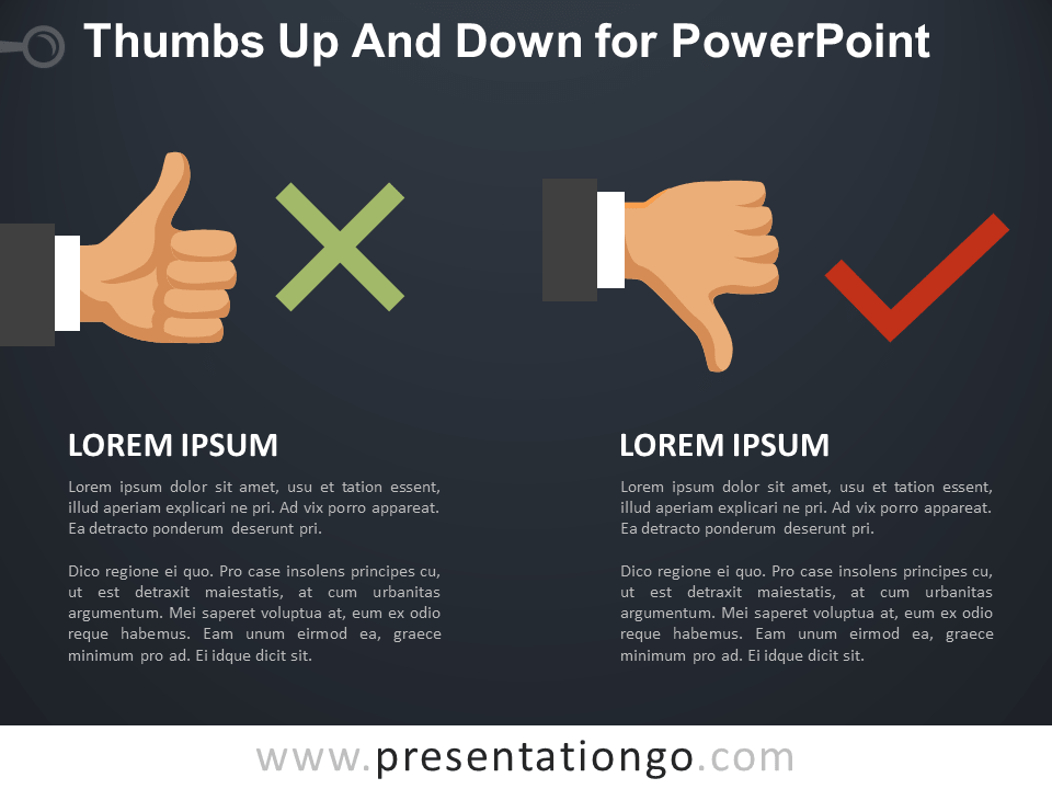 Free Thumbs-Up and Down for PowerPoint - Dark Background