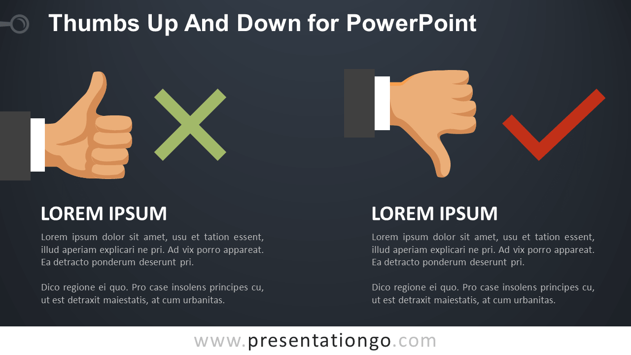 Thumbs-Up and Down for PowerPoint - Dark Background