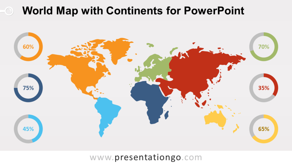 Free Worldmap with Continents for PowerPoint