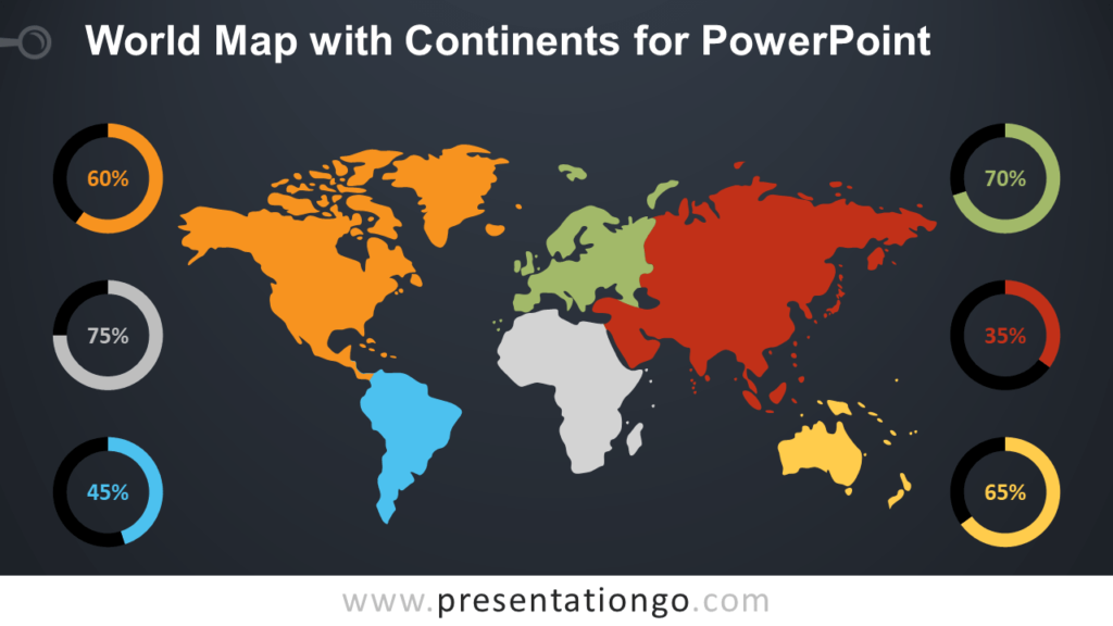 Free Worldmap with Continents for PowerPoint - Dark Background