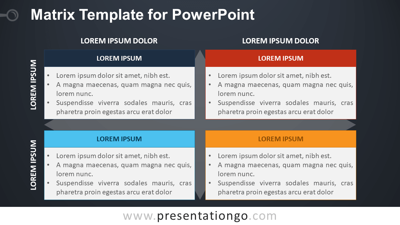 Business Matrix Template for PowerPoint - Dark Background