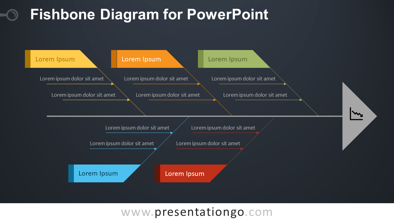 Fishbone Ishikawa Diagram for PowerPoint - Dark Background