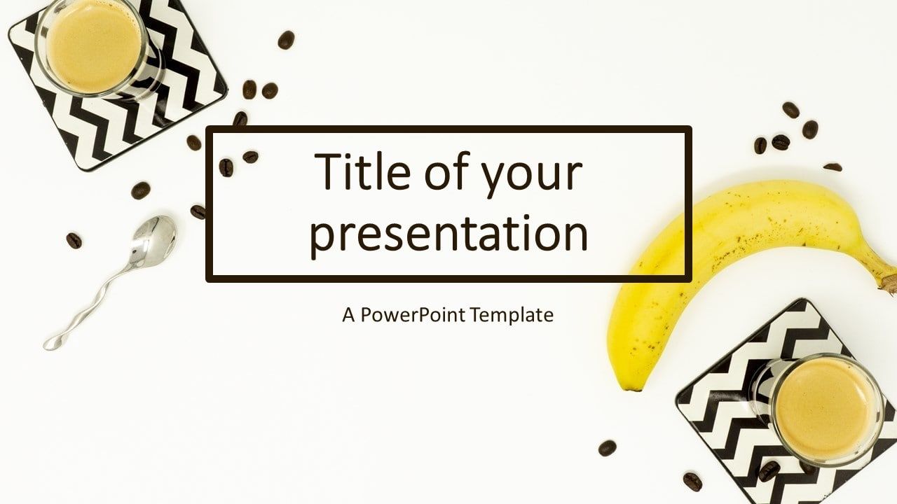 Flat Lay Banana and Coffee Cups PowerPoint Template