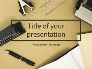 Flat Lay Office Supplies PowerPoint Template