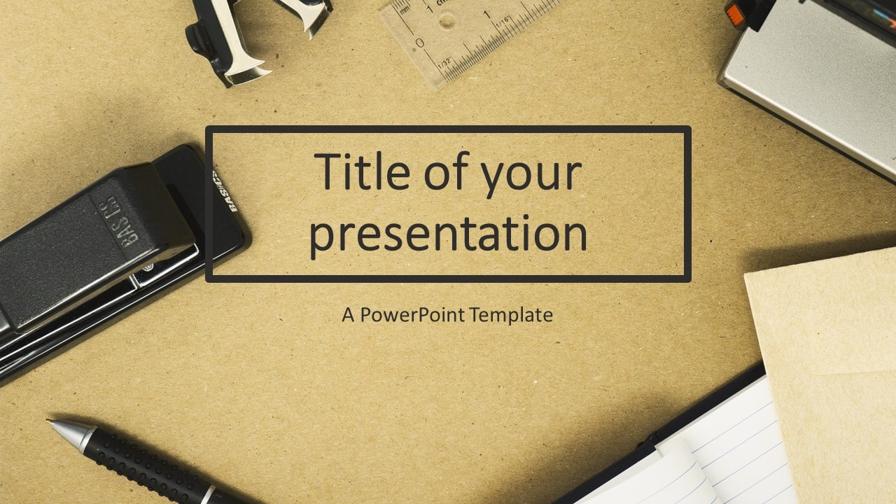Flat Lay Photo of Office Supplies - PowerPoint Template