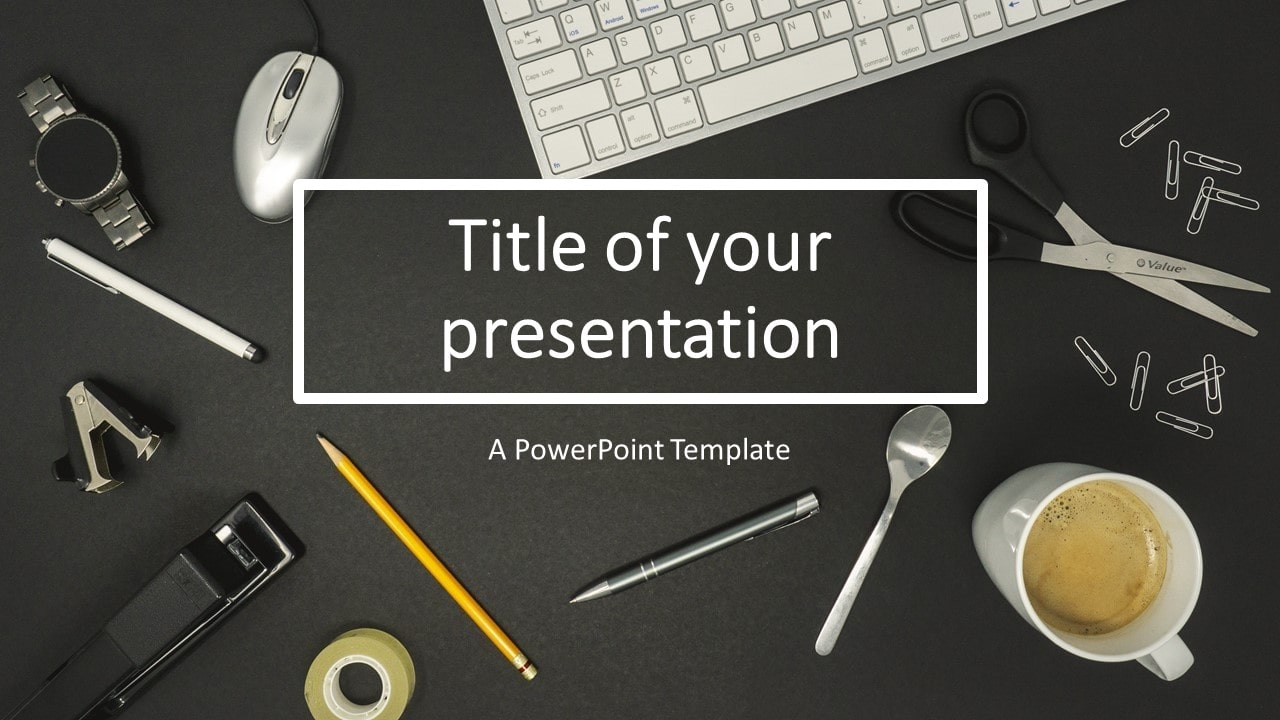 Flat Lay PowerPoint Template with iMac Keyboard