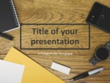 Free Flat Lay Wood Office Desk PowerPoint Template