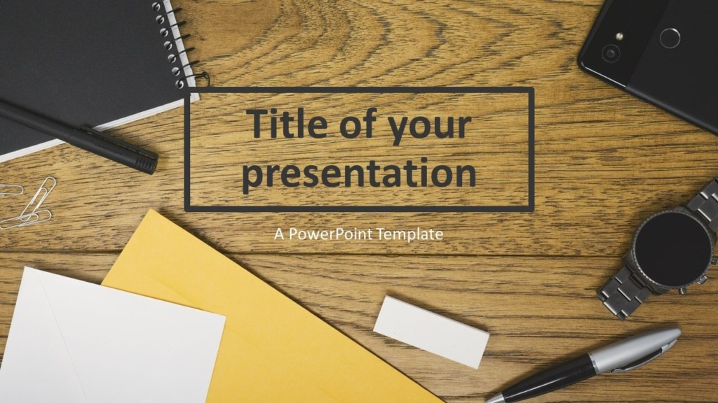 Flat Lay Wood Office Desk PowerPoint Template
