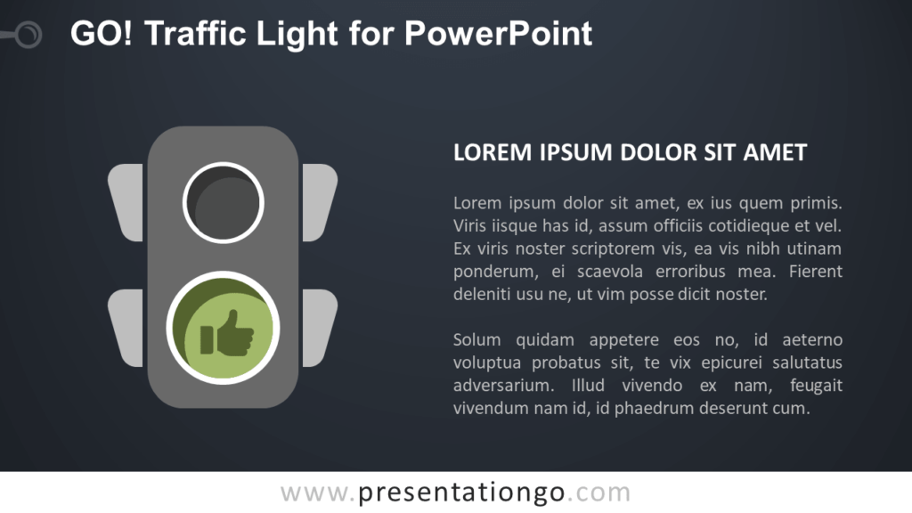 Free Go Green Traffic Light for PowerPoint - Dark Background