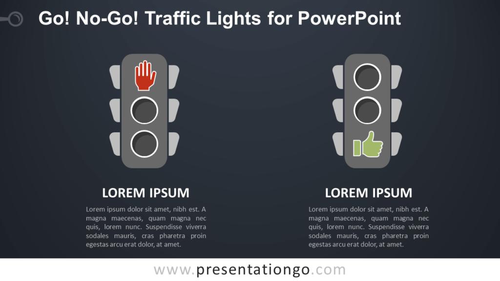 Free Go, No-Go Traffic Lights Comparison for PowerPoint - Dark Background