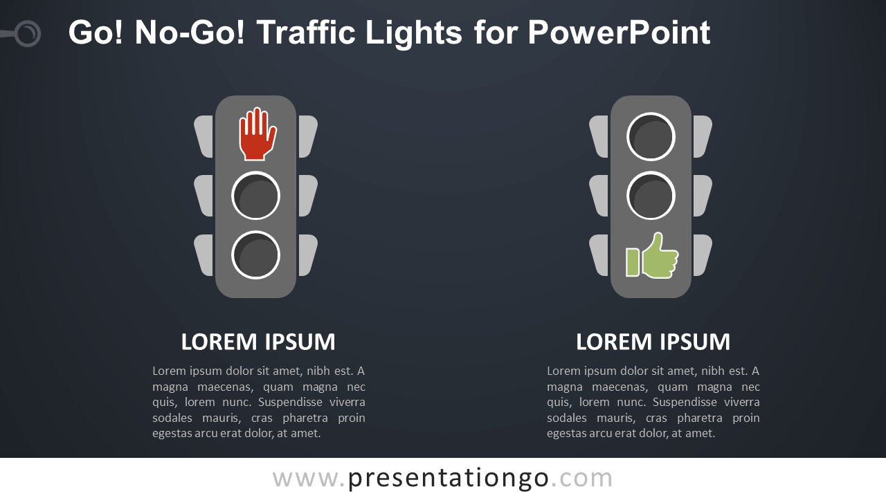 Free Go, No-Go Traffic Lights Comparison for PowerPoint - Dark Background