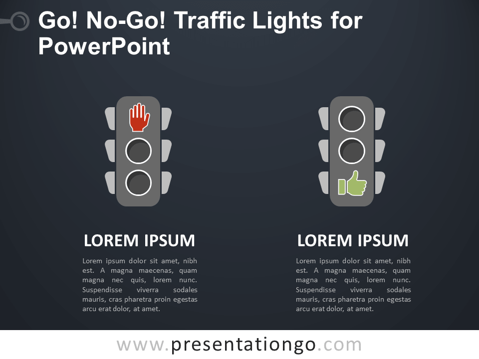 Free Go, No-Go Traffic Lights for PowerPoint - Dark Background