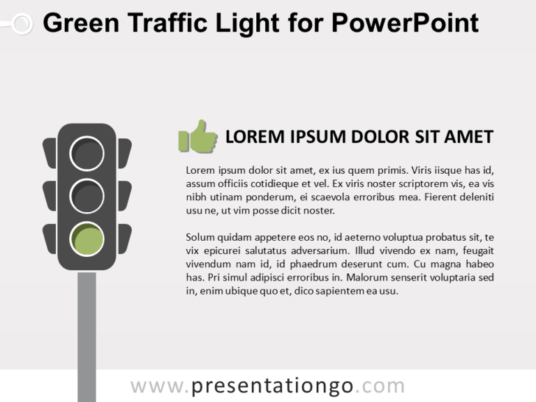 Free Green Signal Traffic Light for PowerPoint