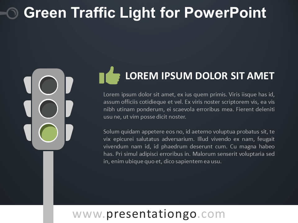 Free Green Signal Traffic Light for PowerPoint - Dark Background