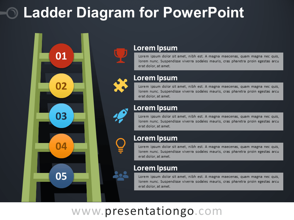 Free Ladder Diagram for PowerPoint - Dark Background
