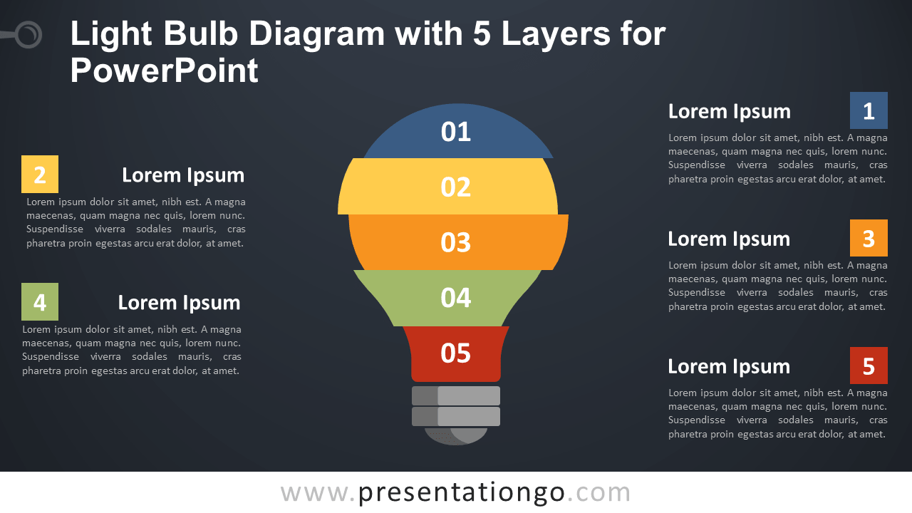 Free Light Bulb with 5 Layers for PowerPoint - Dark Background