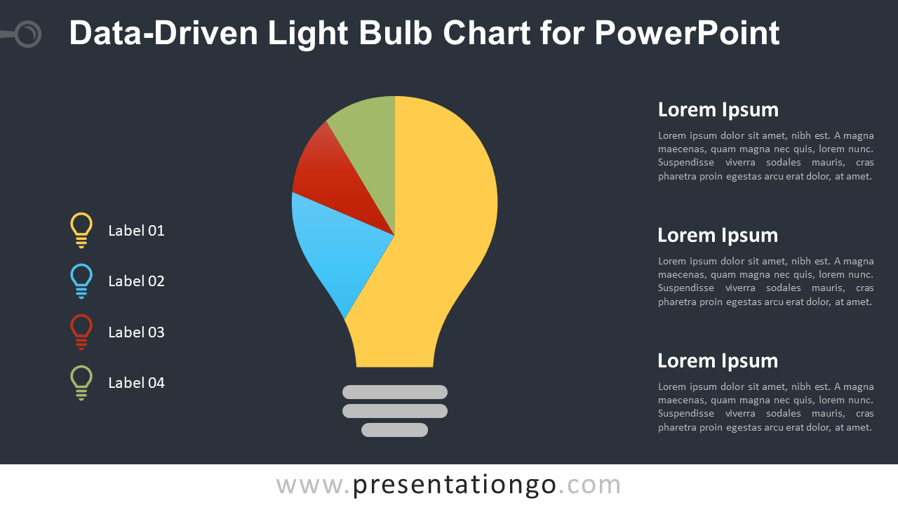 Free Light Bulb Chart for PowerPoint - Dark Background