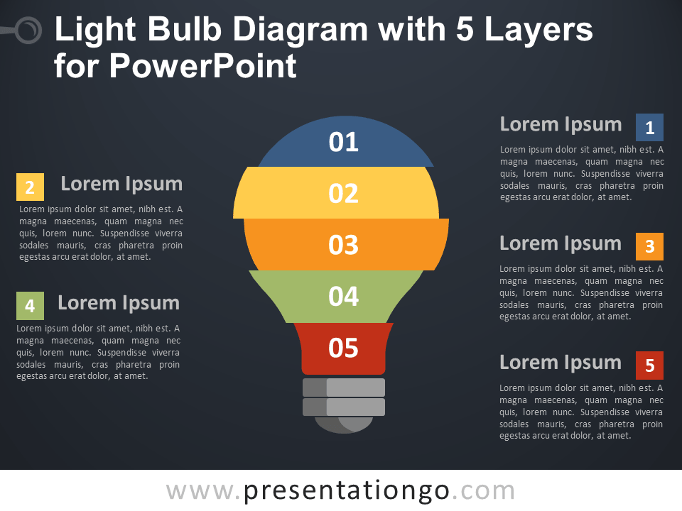 Free Light Bulb Diagram with 5 Layers for PowerPoint - Dark Background
