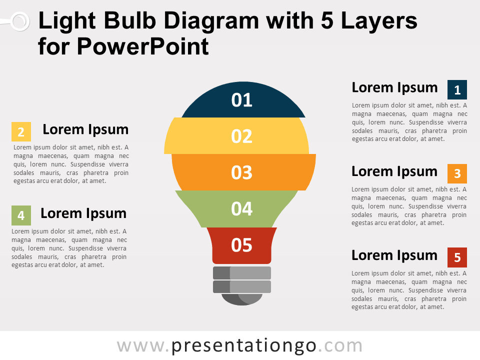Free Light Bulb Diagram with 5 Layers for PowerPoint
