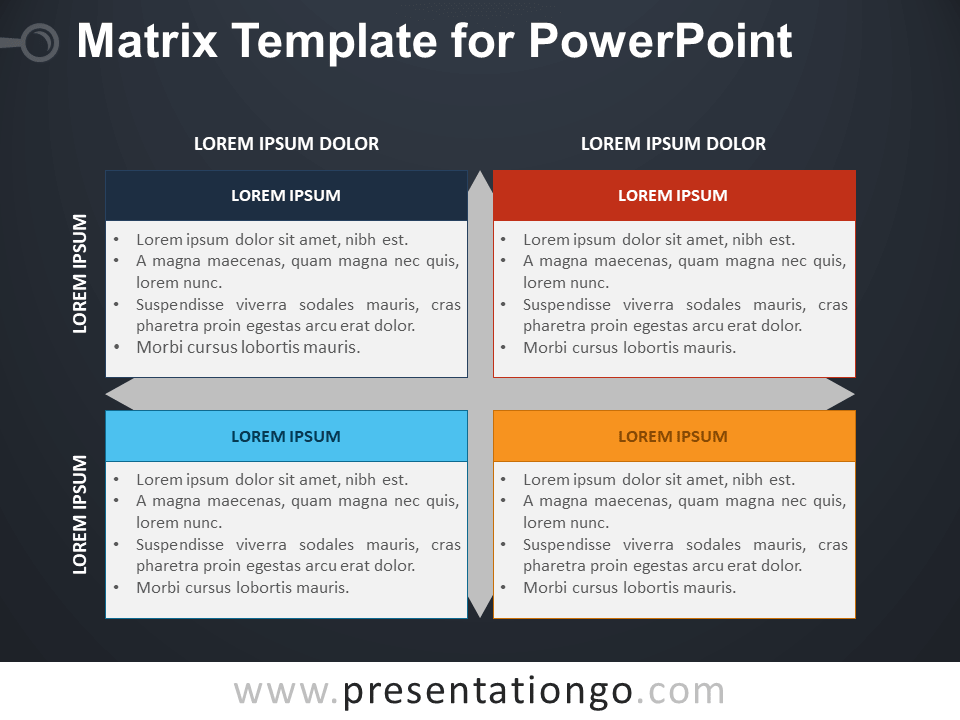 Free Matrix Template for PowerPoint - Dark Background