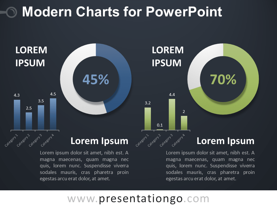 Free Modern Charts for PowerPoint - Dark Background
