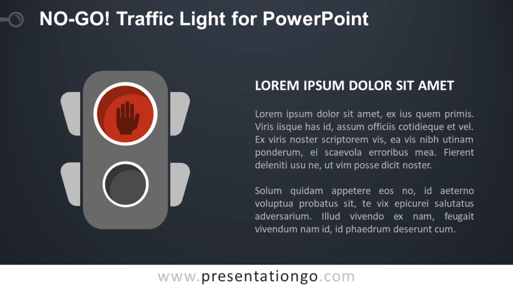 Free No-Go Red Traffic Light for PowerPoint - Dark Background