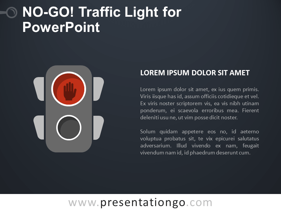 Free No-Go Traffic Light for PowerPoint - Dark Background