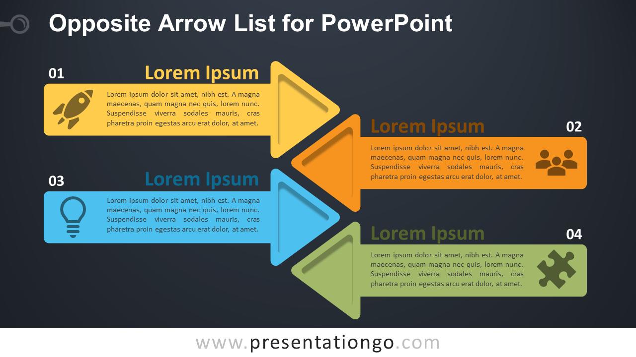 Opposite Arrows for PowerPoint - Dark Background