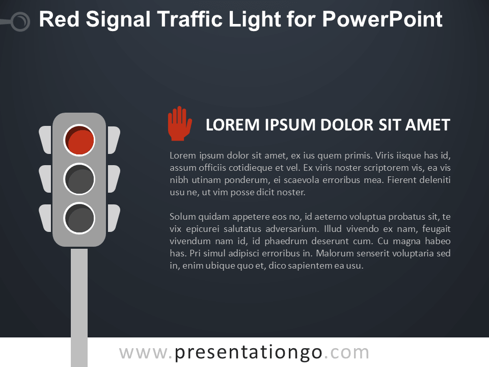 Free Red Signal Traffic Light for PowerPoint - Dark Background
