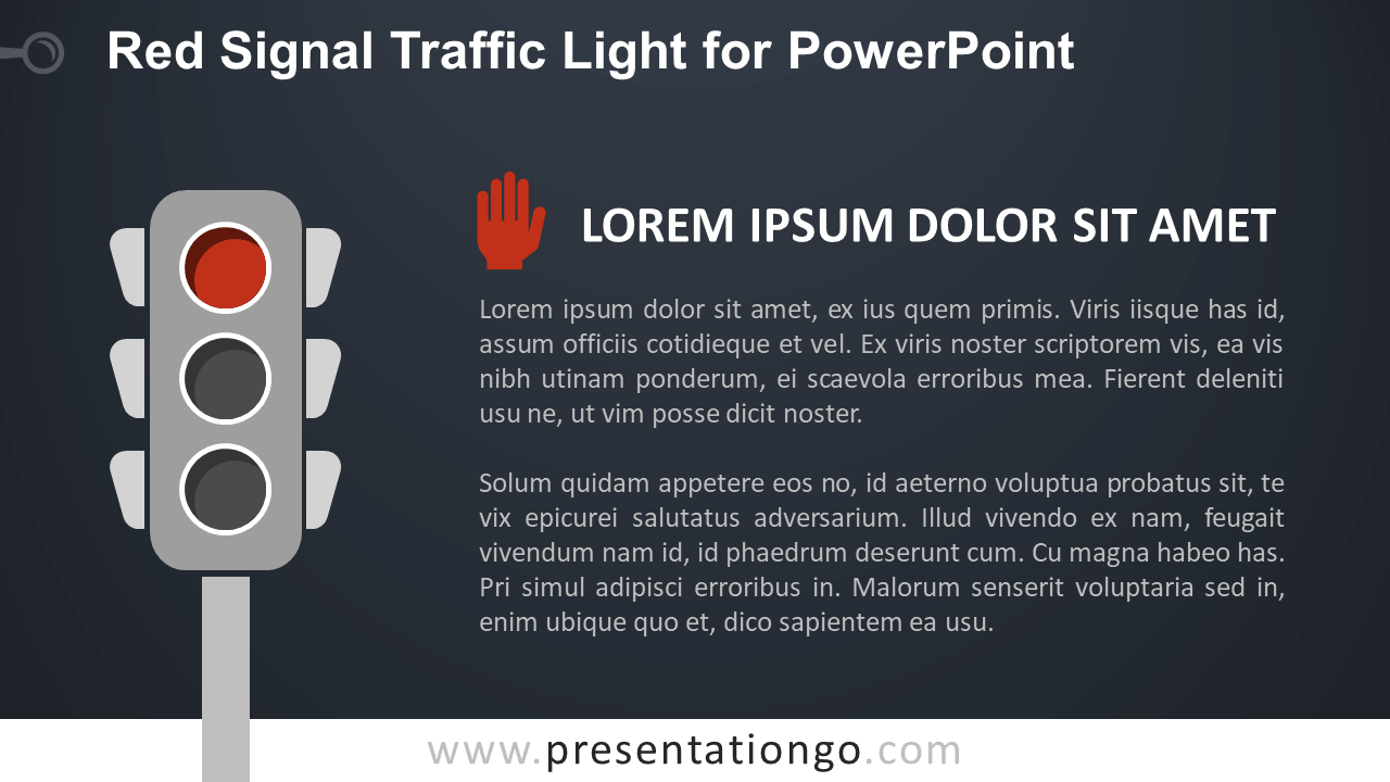 Free Red Traffic Light for PowerPoint - Dark Background