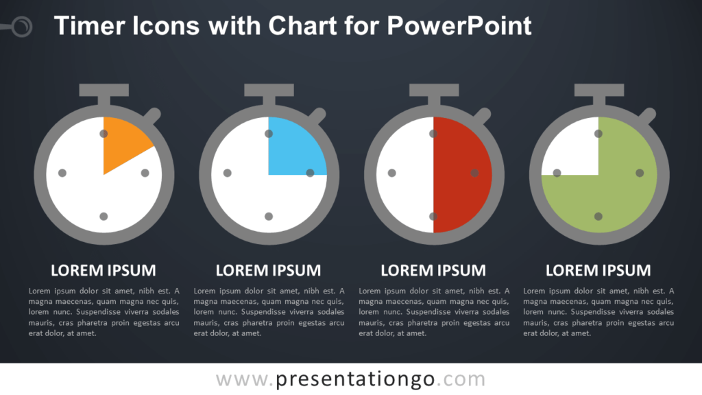 Timer Icons with Chart for PowerPoint - Dark Background