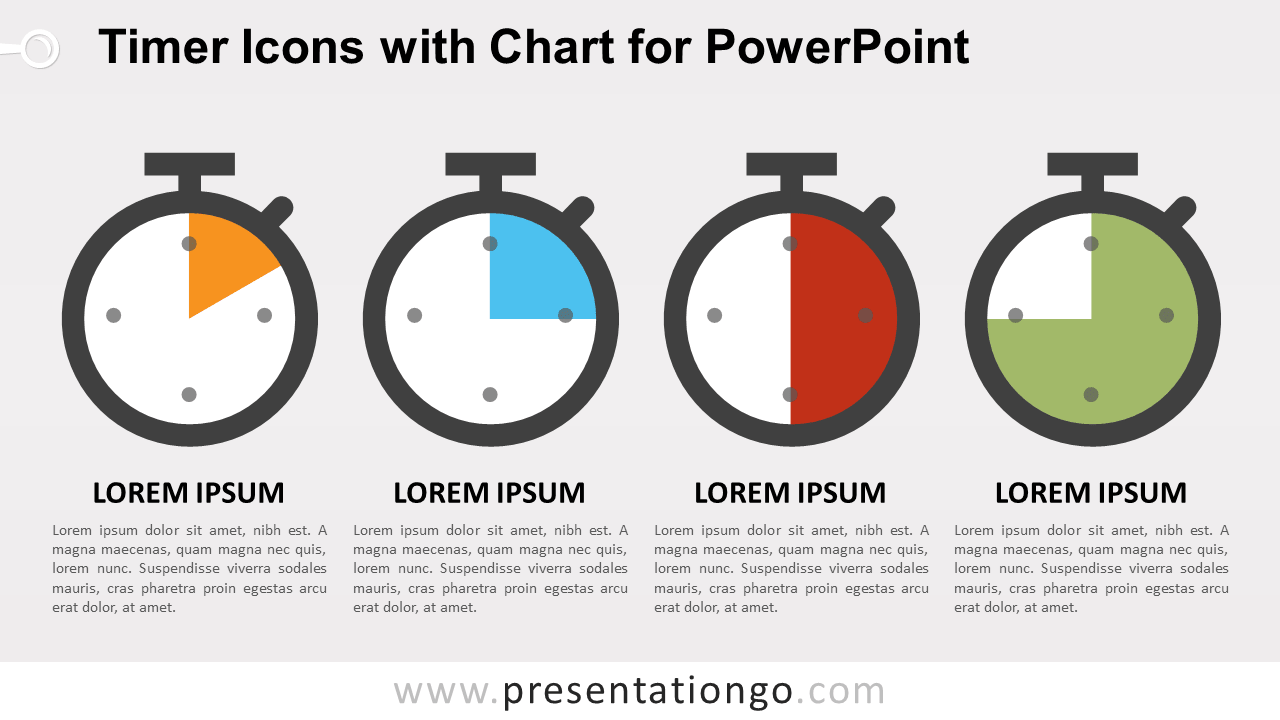 Timer Icons with Chart for PowerPoint