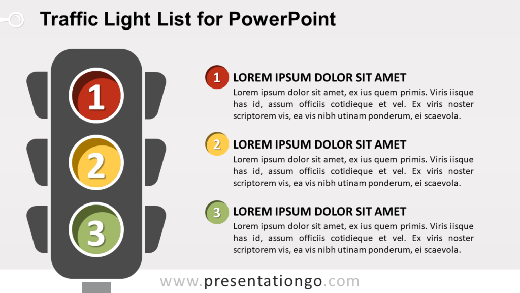 Free Traffic Light List with Numbers for PowerPoint