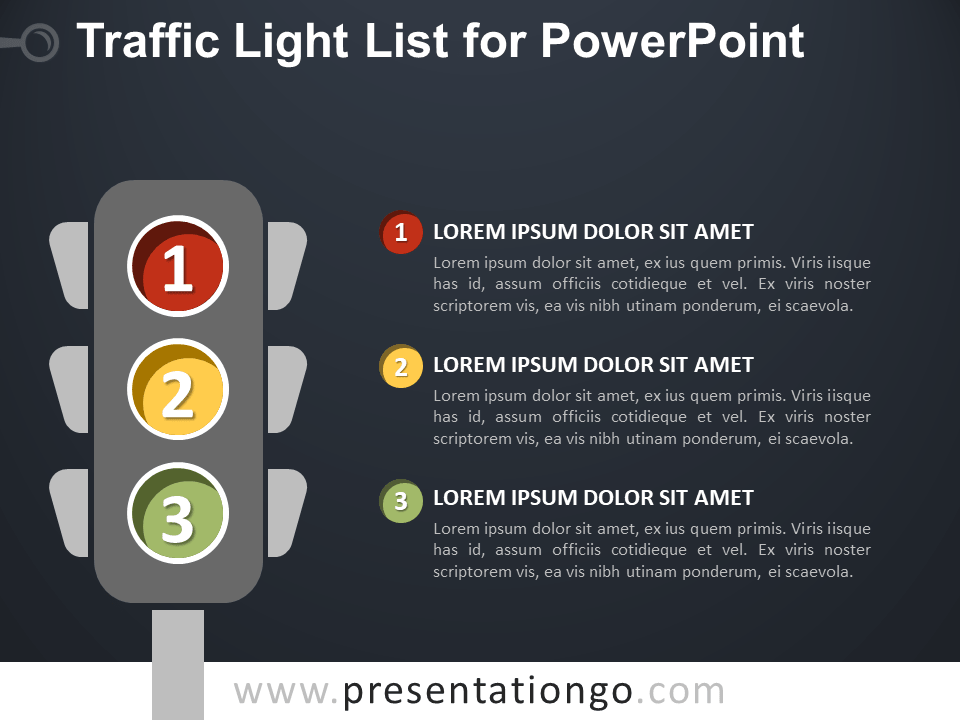 Free Traffic Light List for PowerPoint - Dark Background